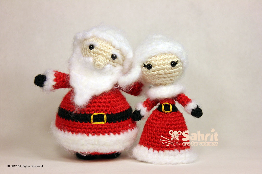 Santa and Mrs. Santa Claus Amigurumi Pattern By Sahrit
