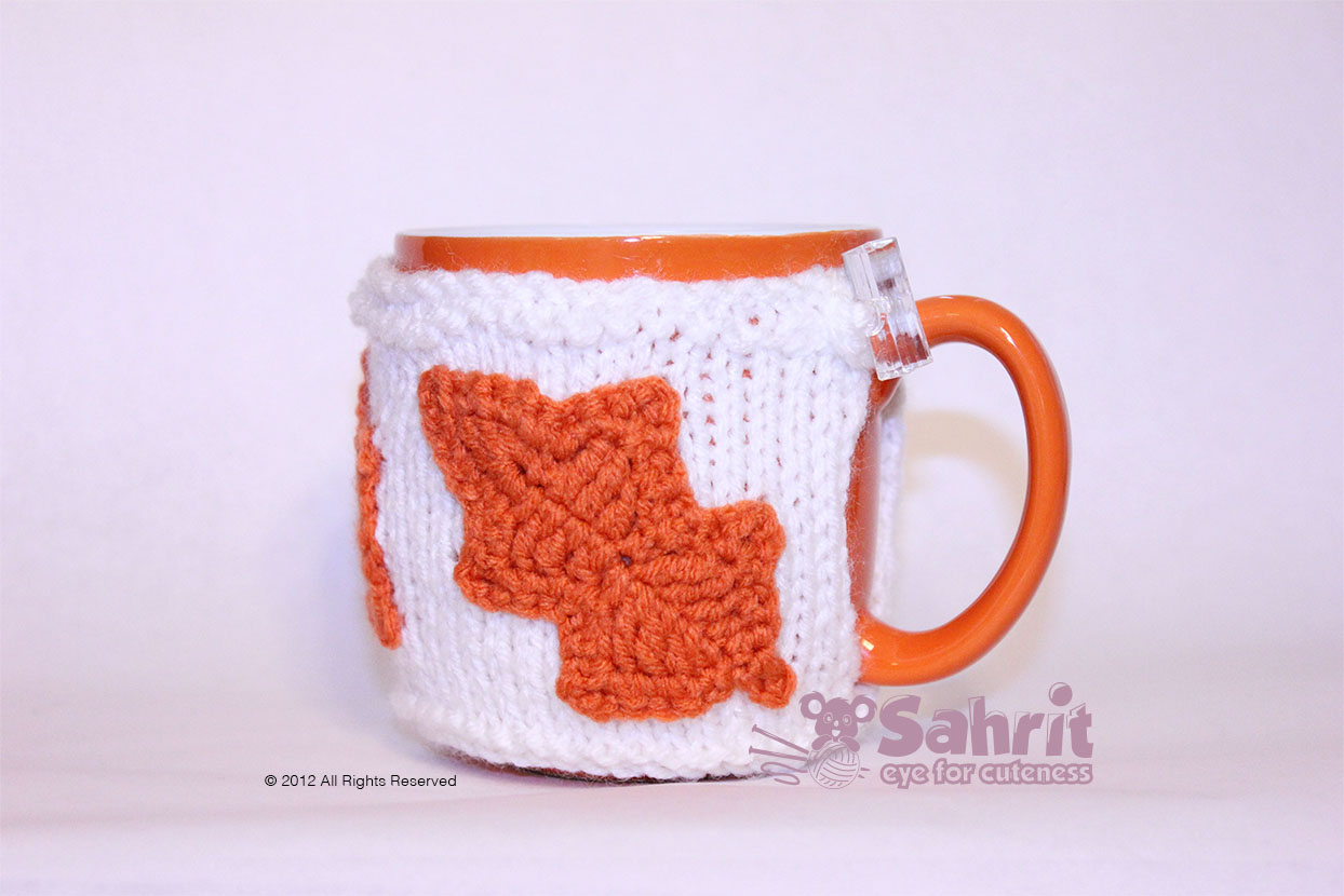Fall Mug Warmer With Leaves Pattern By Sahrit