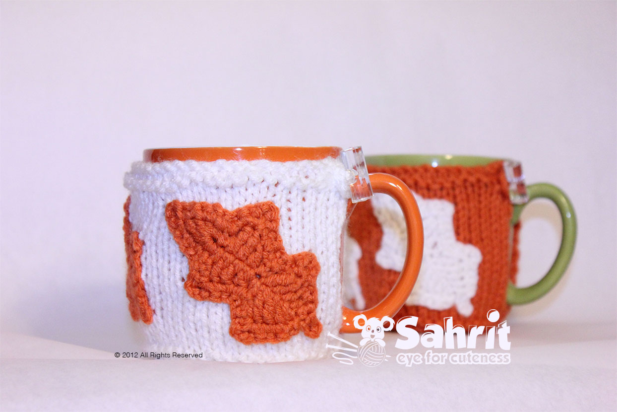 Fall Mug Cozy Cover Warmer With Leaves Pattern By Sahrit