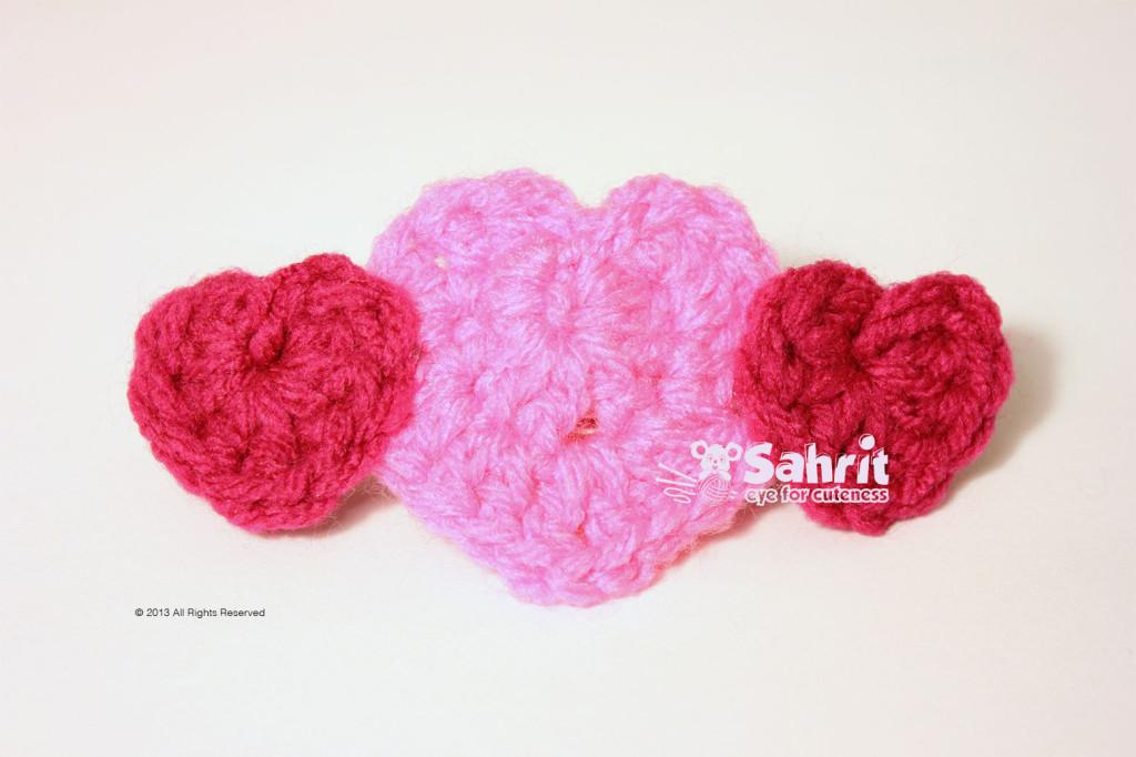Hearts Brooch Free Pattern by Sahrit