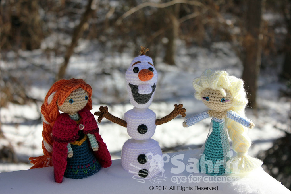 Olaf Elsa Anna Snowman Frozen Amigurumi Doll Crochet Pattern by Sahrit