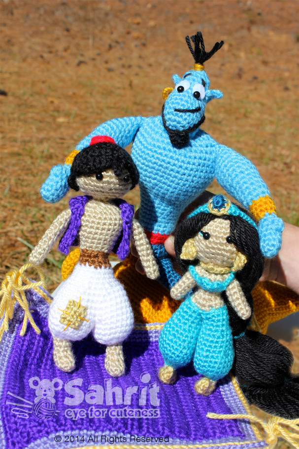 Genie Aladdin and Jasmine Amigurumi Pattern by Sahrit