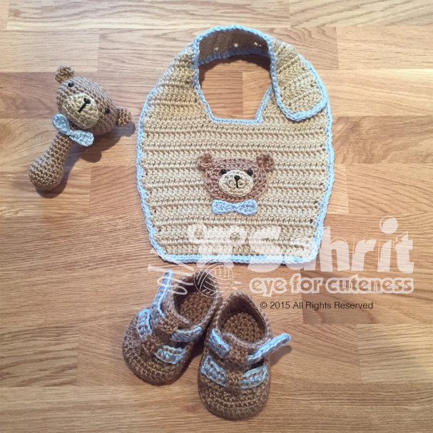 Beary Cute Baby Set Bib Booties and Rattle Pattern by Sahrit